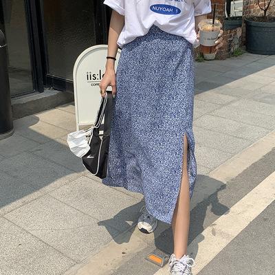 hooozen váy Huang Zheng váy xẻ hoa tươi nữ 2021 mùa hè Hàn Quốc eo thun a-line khí chất váy dài trun