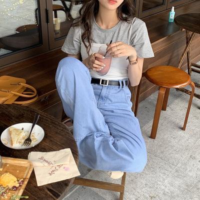 hooozen quần Jean Huang Zheng Retro Split Jeans của phụ nữ Mùa hè 2021 Hàn Quốc Thắt lưng cao Thả rộ
