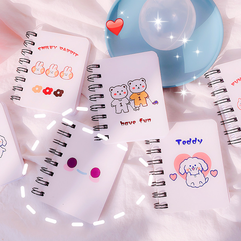 YIGE Cartoon ins wind memo coil notebook cute rabbit bear smiley notepad student learning stationery