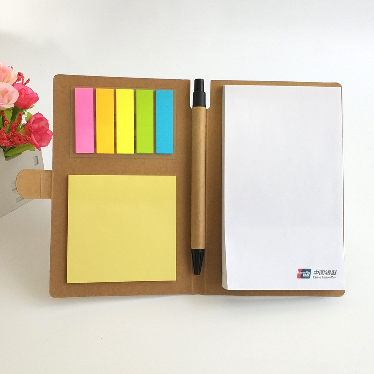 Kraft Paper Cover Memo Pad Combination Sticky Note Creative Memo Sticker N Times Posting Plus Pen