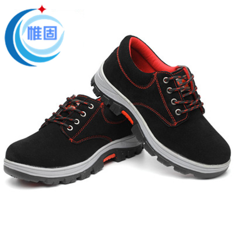 Black suede cowhide protective shoes for men, anti-smashing and anti-piercing with tendon-soled prot