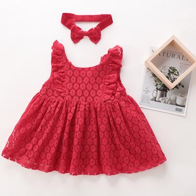 Đầm váy trẻ em Quần áo trẻ em, váy cho bé gái, váy ren phong cách mới dễ thương mùa hè, váy thường t