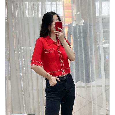 Áo khoác lửng Pháp đơn MJ21 mùa xuân và mùa hè phong cách mới mở mũi khâu màu POLO ve áo rời áo khoá