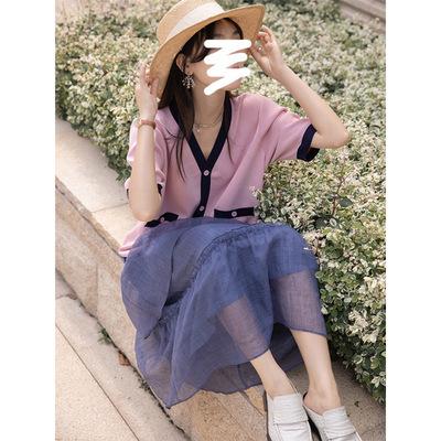 Áo khoác lửng CHACHA Quần áo dệt kim gió nhỏ thơm mát dành cho phụ nữ mỏng mùa hè tay ngắn chống nắn