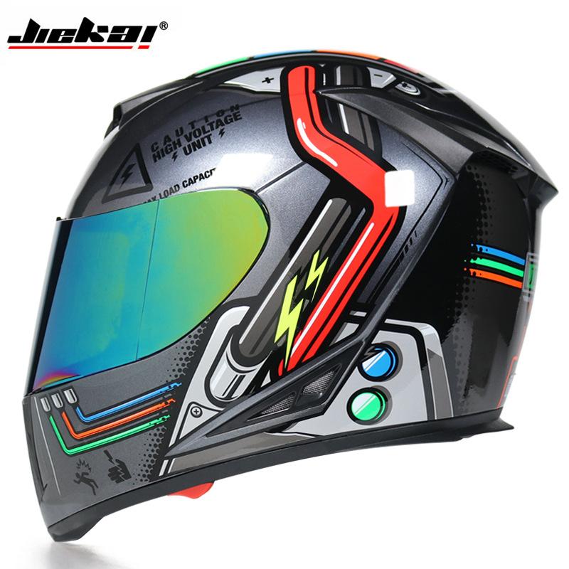 Jiekai motorcycle helmet men and women full helmet full-covered personality four seasons dual-lens l