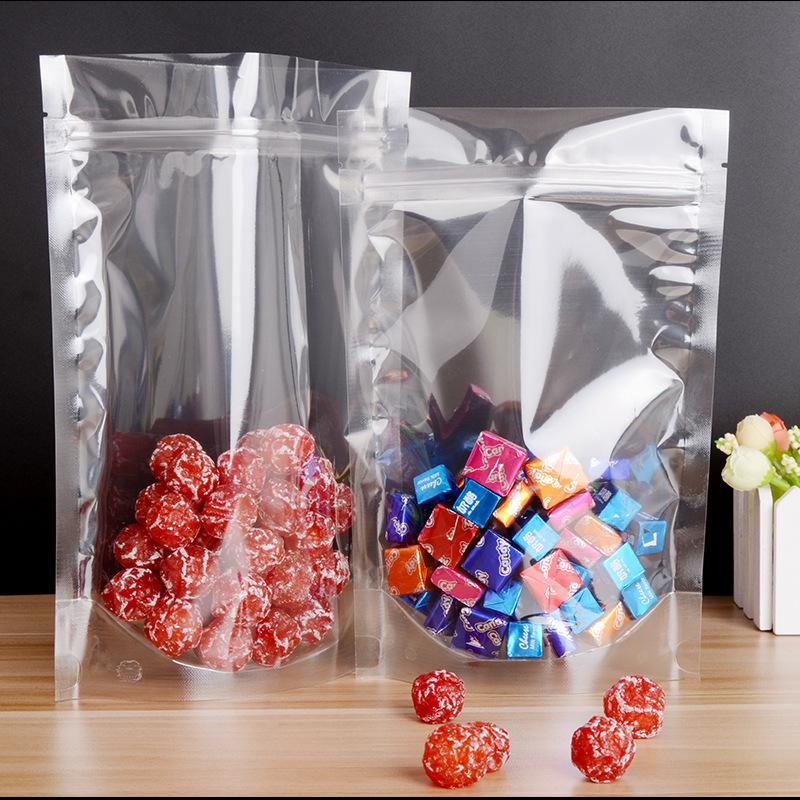 Snack food packaging bag self-supporting ziplock bag snack bag nut sealed bag transparent candied ca