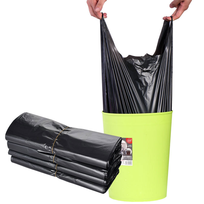 Vest-style garbage bag black household thickened disposable portable garbage bag plastic bag large