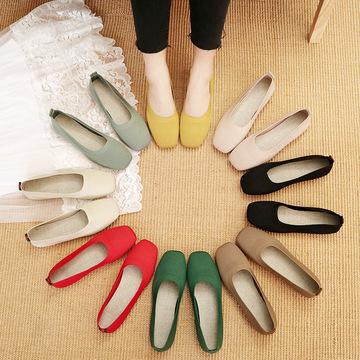 Giày da một lớp Nhà máy cung cấp trực tiếp giày đơn của phụ nữ 2020 mùa xuân mới dệt kim lười một bà