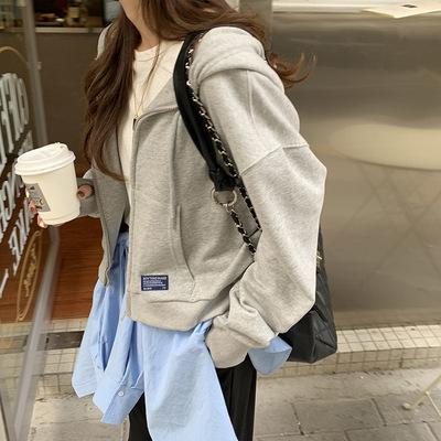 hooozen Sweater (Áo nỉ chui đầu) Huang Zheng ngắn có mũ trùm đầu dây kéo khóa kéo áo len màu rắn của