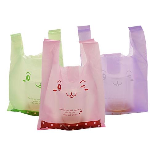 Large cute cartoon waistcoat bag, thick portable plastic bag, shopping convenient bag, vest bag