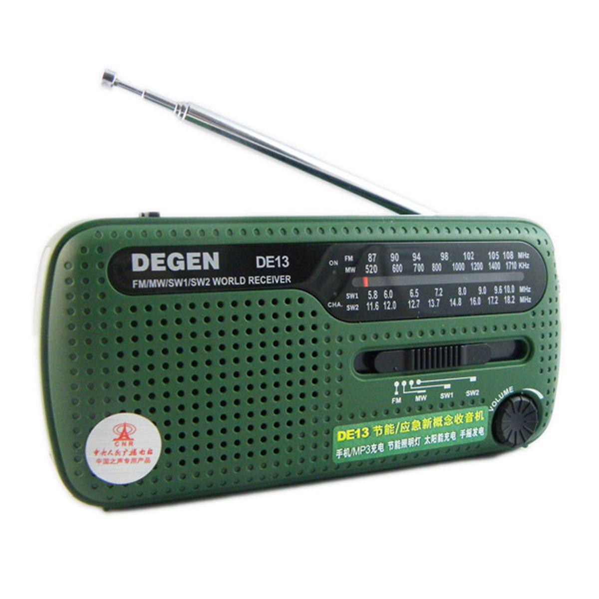 DEGEN Degen DE13 Outdoor Radio Full Band Solar Hand-cranked Power Generation Emergency Alarm English