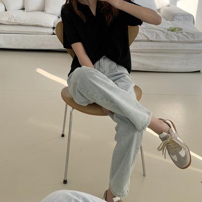 hooozen quần Jean Huang Zheng retro xếp li quần jean cạp cao 2021 mùa xuân Hàn Quốc quần ống rộng đơ
