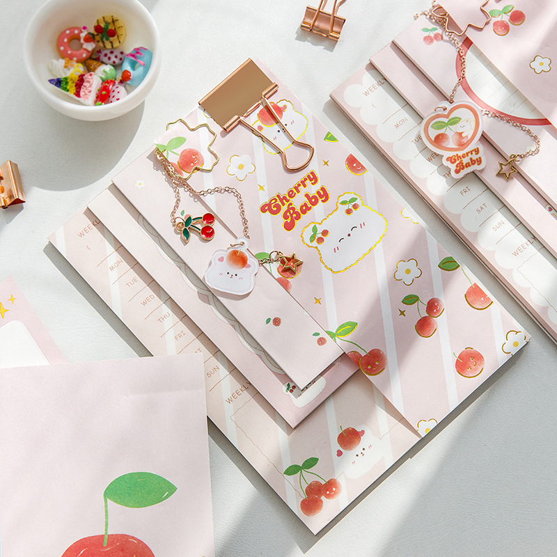 Joytop Joytop Cherry Sweet Memo Set (3 color pages) Memo notebook with tearable notes