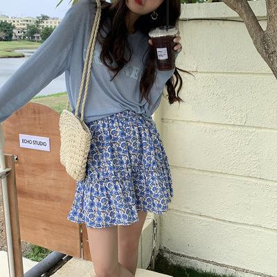 hooozen váy Huang Zheng nhỏ tươi mát bông hoa váy ngắn nữ 2021 mùa hè phong cách Hàn Quốc eo cao một