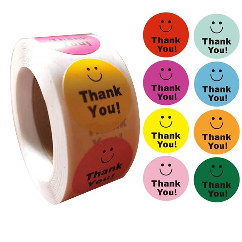 1 inch self-adhesive film ins smile smiley thank you sticker label