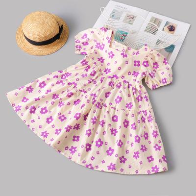 Váy bé gái mùa hè 2021 phong cách nước ngoài mới Váy trẻ em hàn quốc mùa hè váy ngắn tay bé gái xu h