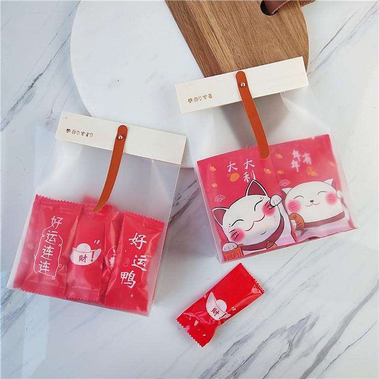 2021 new Japanese style wooden card head Feinan snowflake crisp milk jujube nougat packaging bag fro