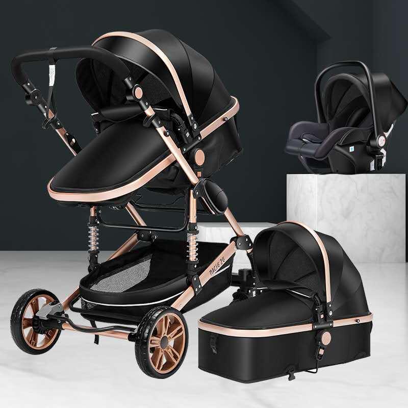 Xe đẩy đa năng tầm nhìn cao có thể ngồi, ngả lưng, giảm sóc xoay 360 độ xe đẩy trẻ em sơ sinh gấp gọ