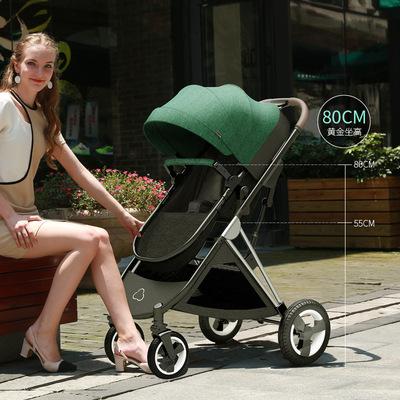 Xe đẩy em bé có thể ngồi, nằm, gấp nhẹ hai chiều cao phong cảnh giường xe đẩy trẻ em sơ sinh
