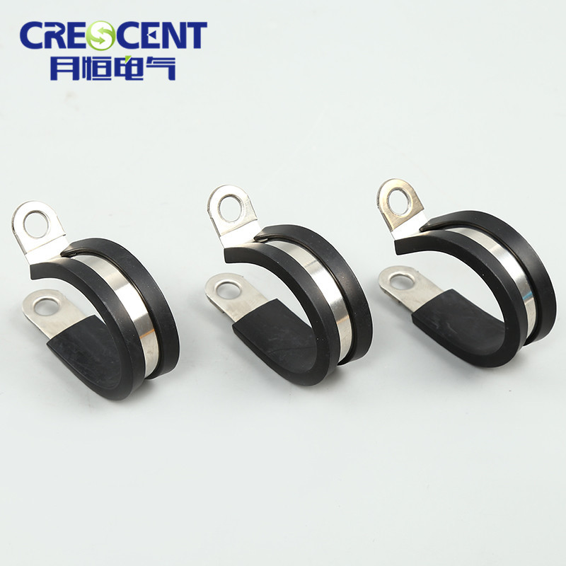 CRESCENT R type 304 stainless steel metal rubber-coated pipe clamp, metal pipe clamp, hose clamp
