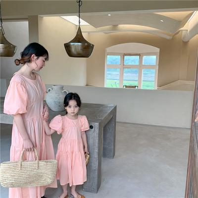 Cô gái phiên bản Hàn Quốc váy mẹ-con rộng rãi mùa hè 2021 quần áo trẻ em mới của trẻ em trẻ em mẹ và
