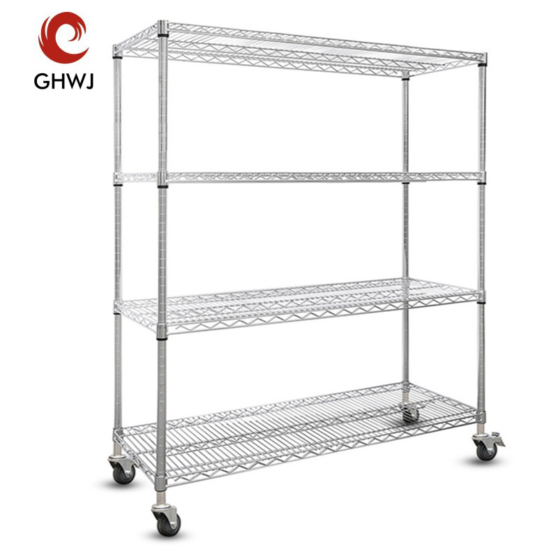 Shelves, chrome-plated stainless steel, anti-static sorting material cart, wheeled wire mesh mobile