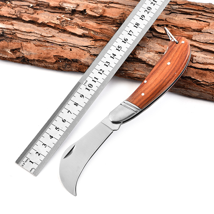 Folding Knife Stainless Steel Electrician's Knife Wooden Handle Outdoor Knife Blade Special Combat