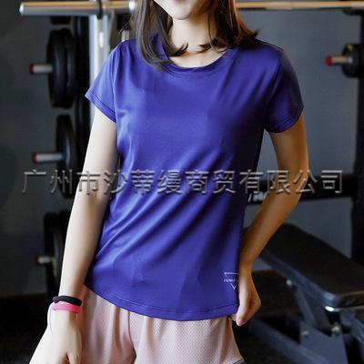 Mới thể thao ngoài trời quần áo nhanh khô thể dục của phụ nữ chạy bộ cổ tròn co giãn wicking quần áo