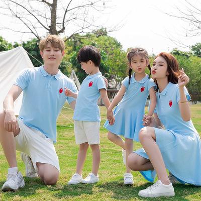 Net nổi tiếng mẹ-con váy cho một gia đình bốn gia đình mới quần áo mùa hè ngắn tay mẹ và con mẹ và c