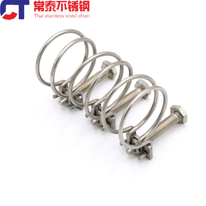 304 stainless steel double steel wire hose clamp pipe clamp hose clamp pipe clamp