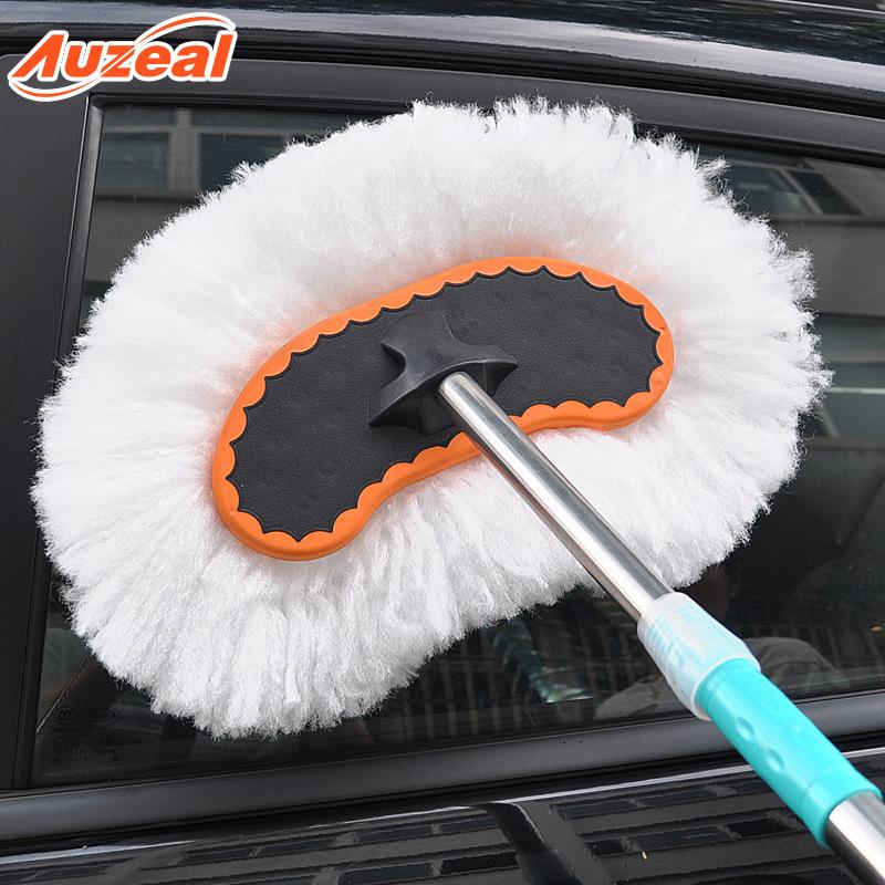 Auzeal Car wash mop, car wash brush, soft bristled long handle, telescopic dust car duster, milk sil