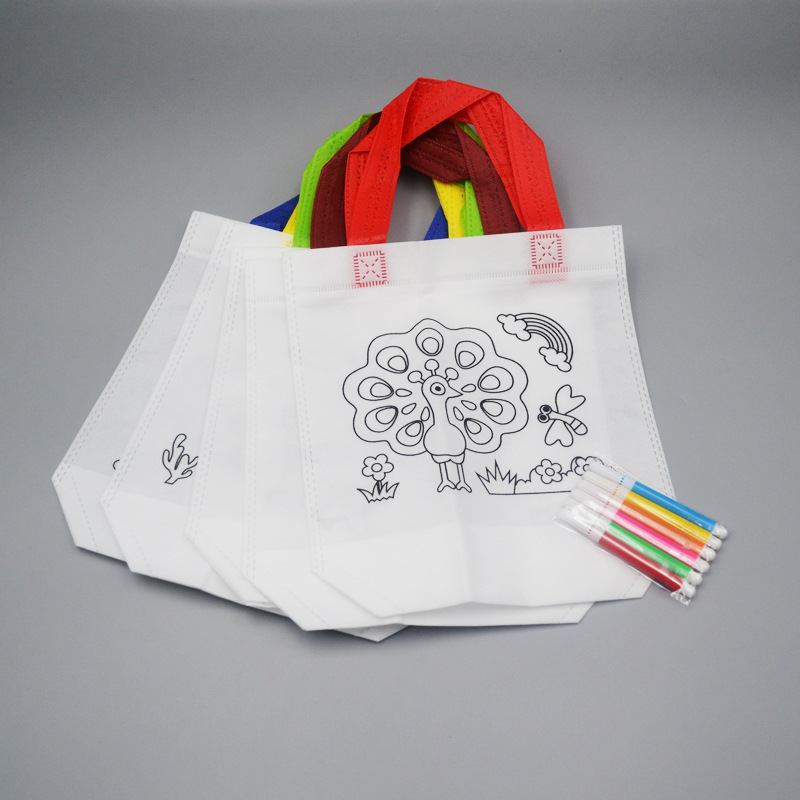 Children's graffiti non-woven tote bag DIY non-woven bag hand-painted coloring non-woven shopping g