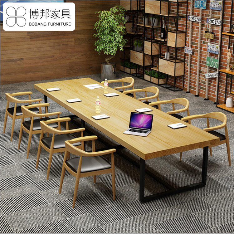 Simple and modern solid wood desk wrought iron staff office furniture desk and chair combination ret
