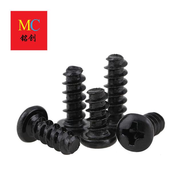 M2-M4 Carbon Steel PB Black Round Head Flat Tail Self Tapping Pan Head Flat Tail Self Tapping Screw