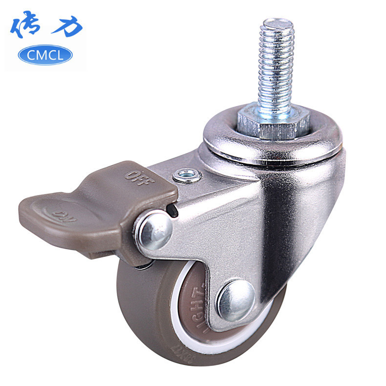 CMCL Medical wheel 1.5 inch TPE screw with brake universal wheel 38*17 bearing roller screw m8*20 si