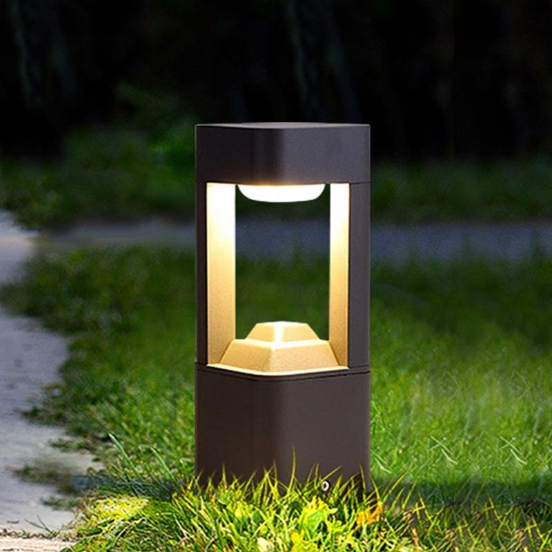 Solar led outdoor square lawn light garden villa landscape garden light waterproof simple aluminum l