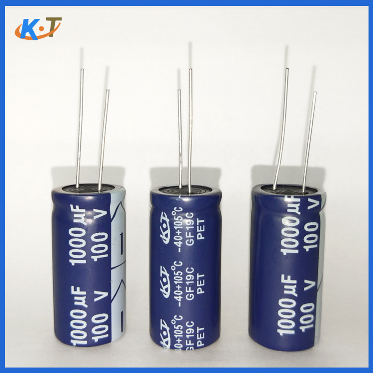 Long-life capacitor 1000uf/100v 18X35 high-power power supply 10000H electrolytic capacitor in-line