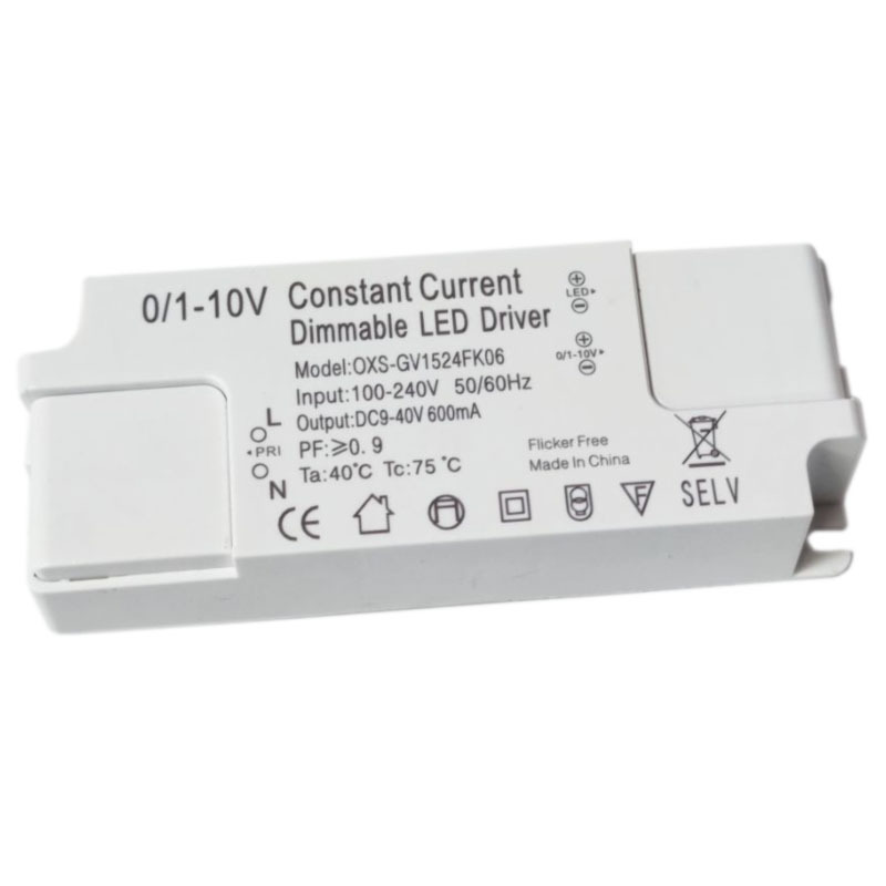 LED dimming driver power supply 0-10V constant current dimming PWM dimming 15-24W no flicker wide vo
