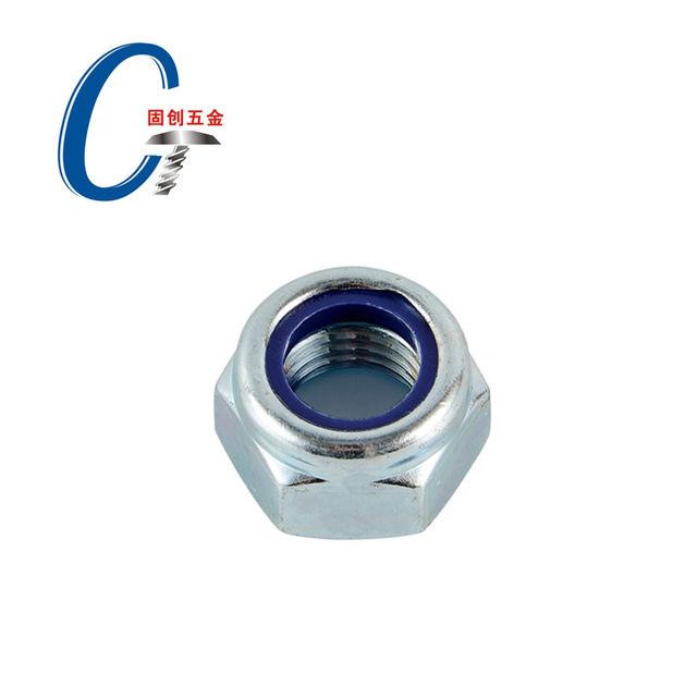 Carbon steel grade 4 galvanized hexagonal lock nut nylon nut self-locking anti-loosing fine thread M