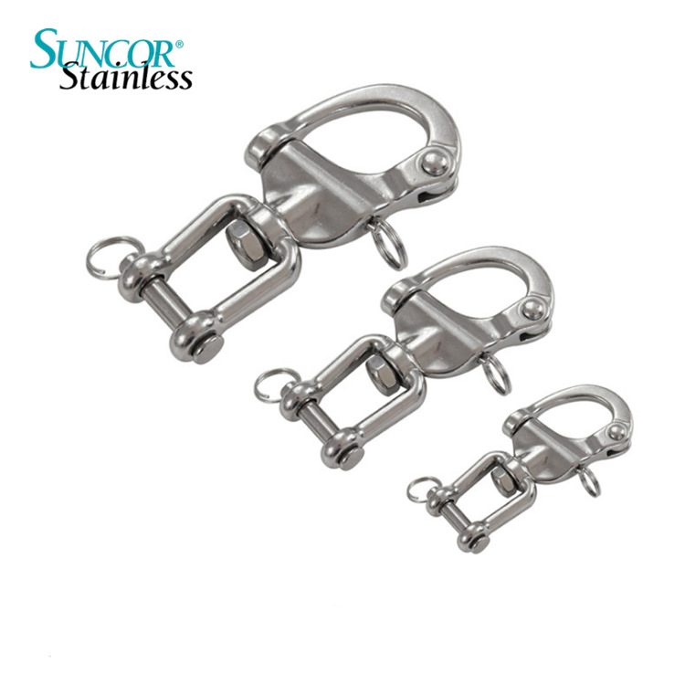 Suncor Stainless Stainless steel 316 fork type rotary spring shackle snap shackle quick release shac