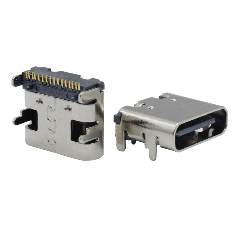 USB3.1 four-pin plug-in board mobile phone charging socket patch type-c 16Pin female socket fast cha