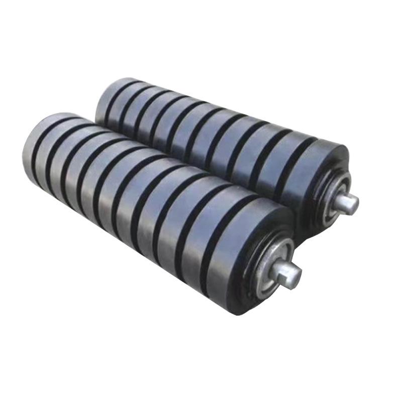 Belt conveyor buffer roller 108*375 cast rubber buffer roller