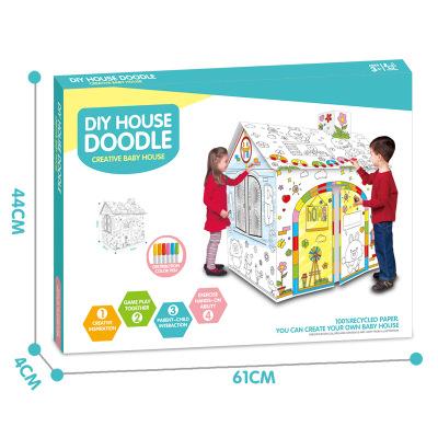 Đồ chơi lắp ráp graffiti ba chiều của trẻ em tự làm đồ chơi xếp hình 3d câu đố giấy ngôi nhà trẻ em
