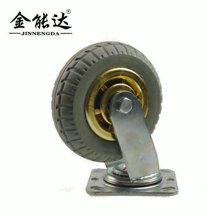 4 5 6 8 inch silent gold-plated rubber hot wheel directional universal trolley wheel industrial cast