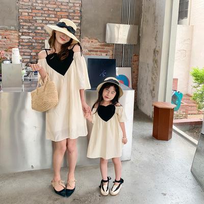 Cùng nhau chơi đùa với quần áo cha-con, váy mẹ và con gái mới mùa hè, váy ba chiều bé gái yêu, váy g