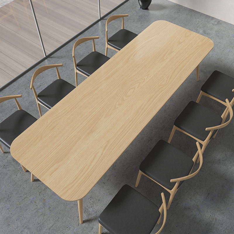 Nordic solid wood desk company office desk and chair combination staff training conference table hom