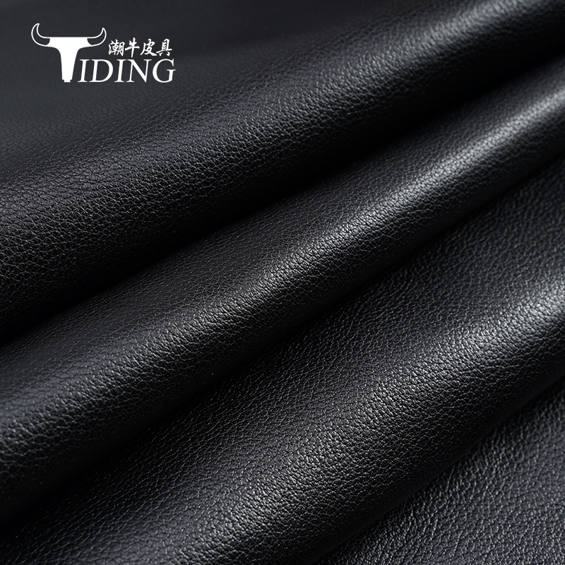 Fetal cow pattern first layer cowhide black sofa soft bag leather bag shoe material leather fabric