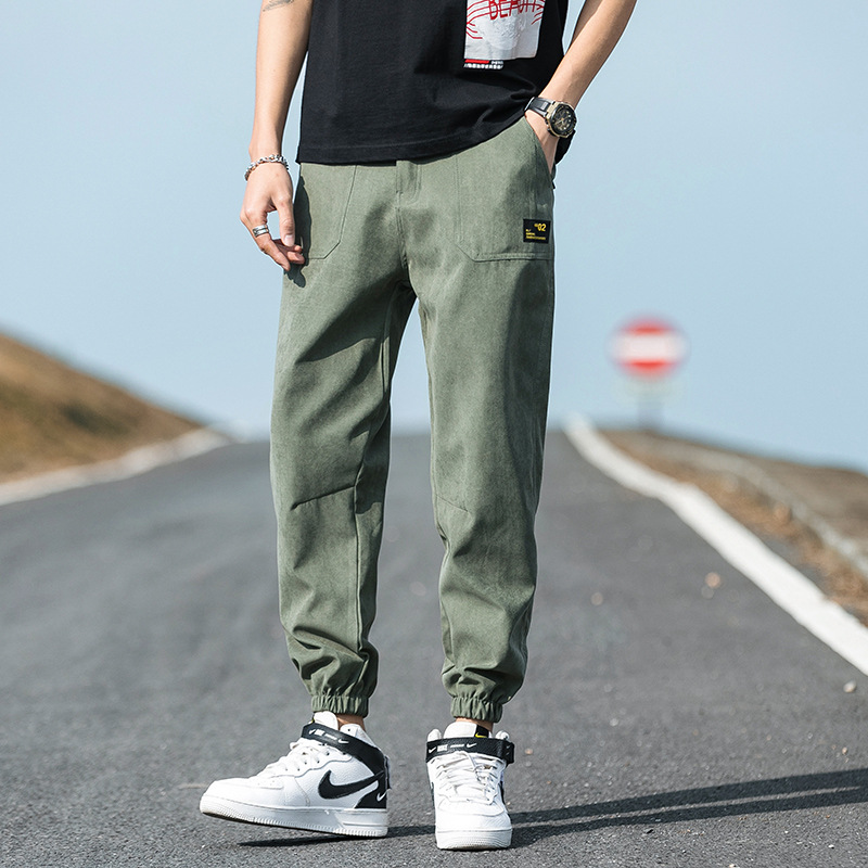 Workwear pants men's summer thin section Korean version of the trend of loose feet loose sports ins