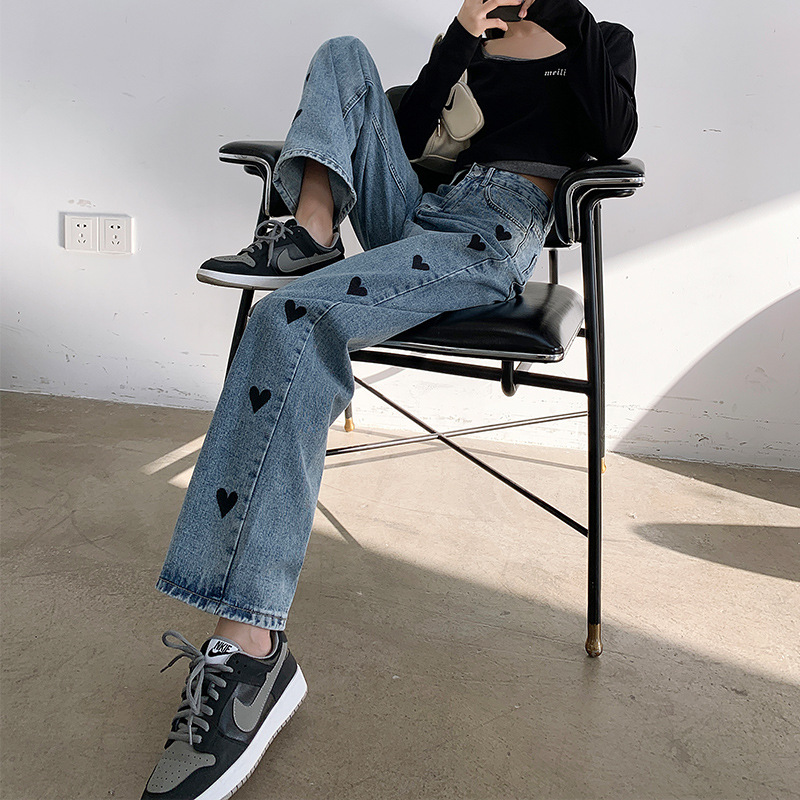 Straight loose love jeans women's 2021 new daddy pants embroidery high waist thin wide leg mopping