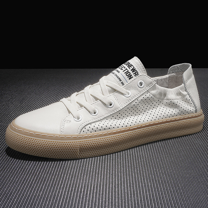 Summer breathable men's shoes 2021 new white shoes men's simple and versatile hollow casual shoes